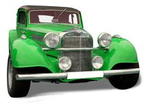 Retro car - green Mercedes Royalty Free Stock Image