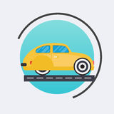 Retro car icon.Vector travel concept background. Flat design mod Royalty Free Stock Images