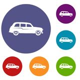 Retro car icons set. In flat circle reb, blue and green color for web Stock Photos