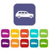 Retro car icons set. Vector illustration in flat style in colors red, blue, green, and other Stock Photo