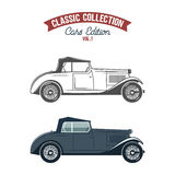 Retro car icons, symbols in flat color and monochrome style. Classic transportation design. Use in logo, badge, label. Retro gangster car 1930-40th. Car icons in Stock Images
