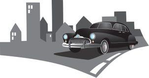 Retro car. Illustration of retro car in the city Stock Image