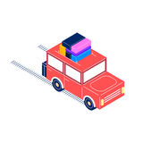 Retro car isometric style. Retro car rides with cargo on the roof, with trunk, on the road, isolated on white background, isometric style Royalty Free Stock Image