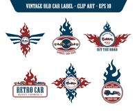 Retro car label sticker Royalty Free Stock Image
