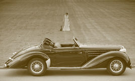 Retro car and lady. Retro car lady and dog Royalty Free Stock Images