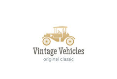 Retro Car Logo vector. Vintage Classic Vehicle  Royalty Free Stock Photo