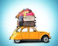 Retro car with Luggage. On the roof, tourism Royalty Free Stock Photos