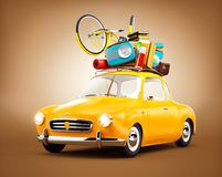Retro car with luggage. Unusual travel illustration. Retro car with luggage. Unusual  travel illustration Stock Images