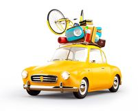 Retro car with luggage. Unusual  travel illustration. Isolated Royalty Free Stock Photo