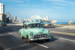 Retro car on Malecon in Havana Cuba Stock Image