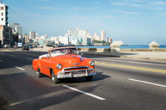 Retro car on Malecon in Havana Cuba Stock Photo