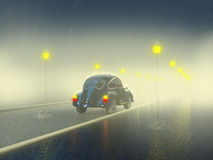 Retro car on the night street. In the rain Royalty Free Stock Images