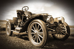 Retro car. Old beautiful vintage retro car. Transportation background