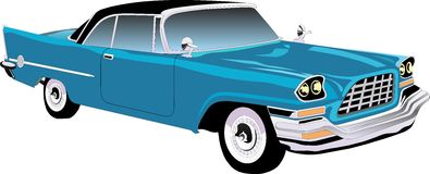 Retro car. old cars. Pattern retro car. The car is blue royalty free illustration