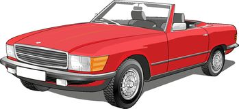 Retro car. old cars. Car red convertible with a folding roof coupe.n vector illustration