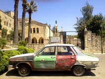 Retro car in old lebanese village Dibbiye,  Lebanon Stock Photos