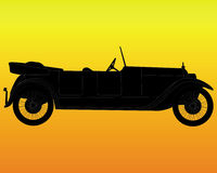 Retro car on an orange background Royalty Free Stock Images