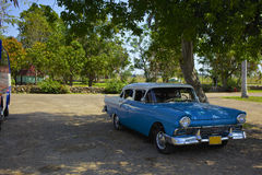 Retro car on the outskirts of Havana Stock Image