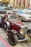 Retro car parked in hollywood boulevard street. Los angeles california Royalty Free Stock Photo