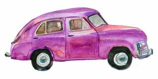 Retro car. Purple retro car isolated on white background. watercolor Stock Photos