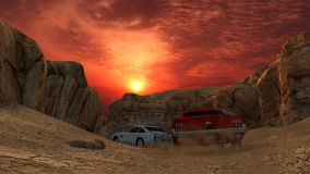 Retro Car Race with Beautiful Rock Formations Surround the Road Royalty Free Stock Photography