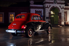 Retro Car at rain weather at nightime bmw 1940s Royalty Free Stock Photography