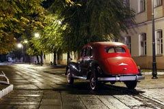 Retro car at rain right near lantern lamp bmw 1940s Stock Images