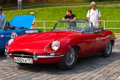 Retro Car Red Jaguar E-Type. Modelyear 1963 Stock Photo
