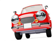 Retro car 1960. Retro car red in 60s style on a white background. 3d illustration stock illustration