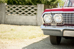 Retro car. Red retro and vintage car Royalty Free Stock Image