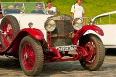 Retro Car Red-Withe alfa romeo 24HP royalty free stock photos
