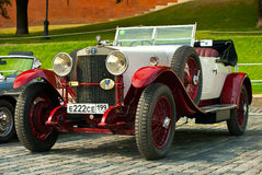 Retro Car Red-Withe alfa romeo 24HP Stock Photos