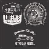 Retro car rental logo set Stock Photos