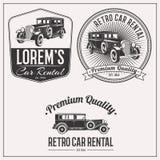 Retro car rental logo set Stock Images
