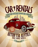 Retro car rentals design. Stock Photo