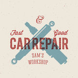 Retro Car Repair Label or Logo Template Stock Photos