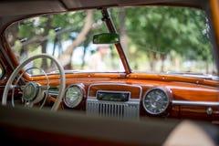 Retro car, retro torpedo car, vintage steering wheel. Speedometer Stock Photography