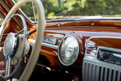 Retro car, retro torpedo car, vintage steering wheel Stock Photo