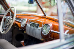 Retro car, retro torpedo car, vintage steering wheel Royalty Free Stock Photo