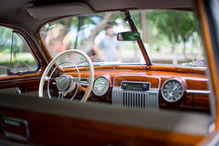 Retro car, retro torpedo car, vintage steering wheel Stock Photos