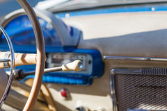 Retro car, retro torpedo car, vintage steering wheel, speedometer Royalty Free Stock Photography