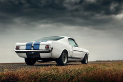 Retro car on the road at cloudy sky authumn ford mustang shelby gt350 royalty free stock image
