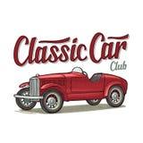 Retro car roadster. Side view. Vintage color engraving. Retro roadster. Side view. Classic Car Club calligraphic lettering. Vintage color engraving illustration stock illustration