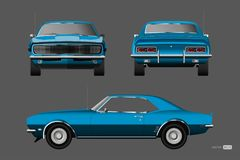 Retro car of 1960s. Blue american vintage automobile in realistic style. Front, side and back view. 3d classic auto. Vector illustration royalty free illustration