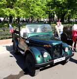 Retro car of 1950-70s soviet jeep UAZ-69 (GAZ-69) without top up Royalty Free Stock Photo