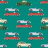 Retro car seamless pattern vector illustration. Royalty Free Stock Photos