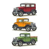 Retro car sedan, coupe and pickup truck. Vintage color engraving. Retro car sedan, coupe and pickup truck. Side view. Vintage color engraving illustration for royalty free illustration