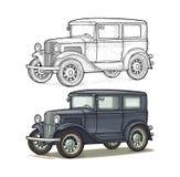 Retro car sedan. Side view. Vintage black engraving. Retro car sedan. Side view. Vintage color engraving illustration for poster, web. Isolated on white vector illustration