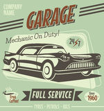 Retro car service sign. Vector illustration Stock Image