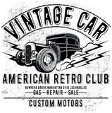 Retro car service sign. Vector illustration. Royalty Free Stock Photos